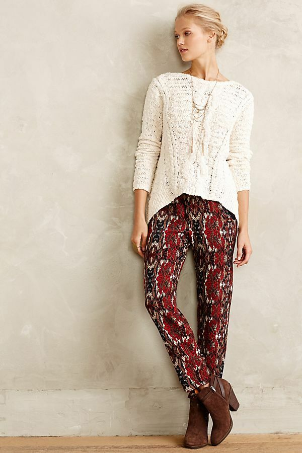 ANTHROPOLOGIE Cartonnier Womens Letna Jogger Pants Red Brocade Print M Medium