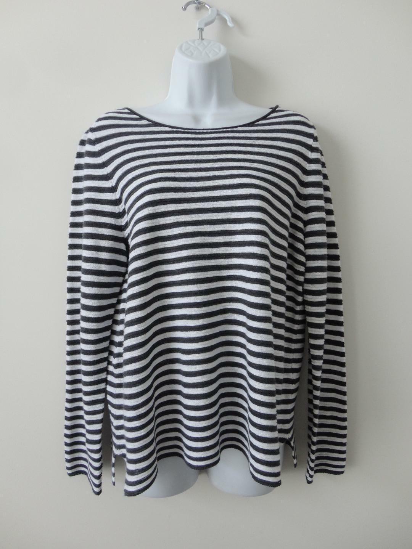 NWT EILEEN FISHER Graphite Weiß Organic Linen Cotton Bateau Neck Top Sweater M