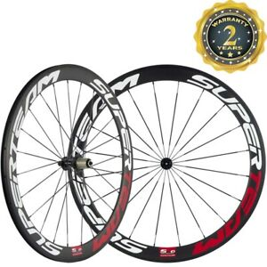 SUPERTEAM-700C-Carbon-Wheelset-50mm-Depth-Front-Rear-Bicycle-3k-Weave-Wheels