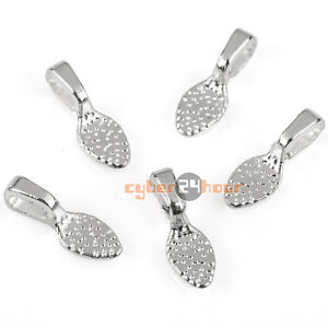 50pcs 6*20mm Glue on Bails Charms Setting For Necklaces Pendant Loop