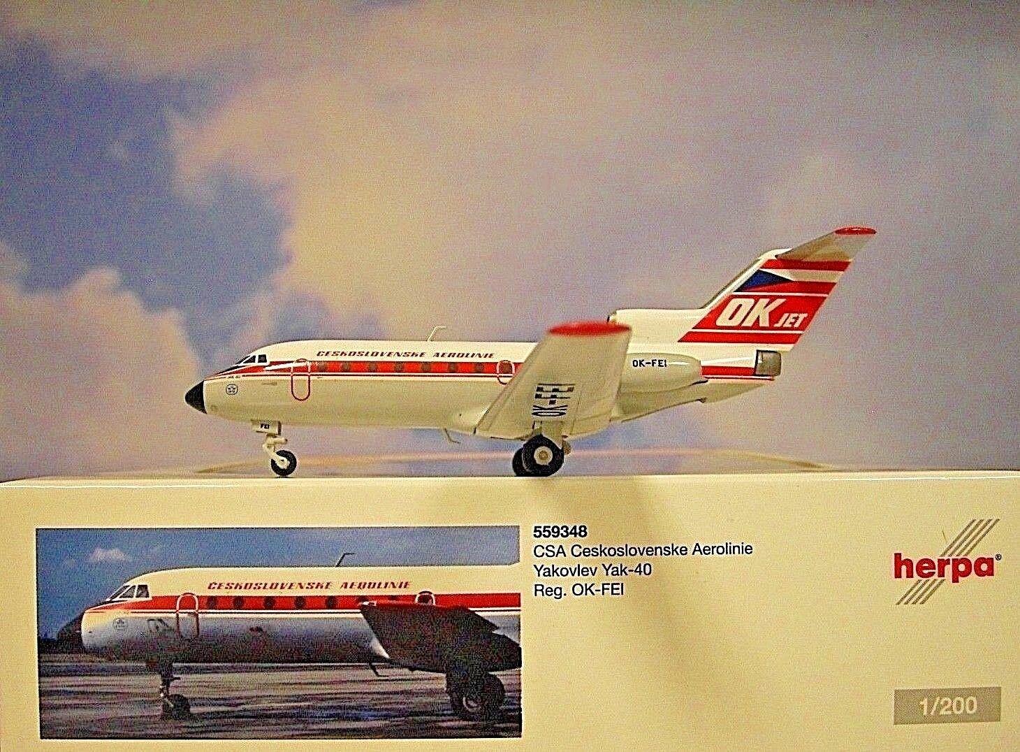 Herpa Wings 1 200 Yakovlev yak-40 CSA Ceskoslovenske Aerolinie OK-Fei 559348