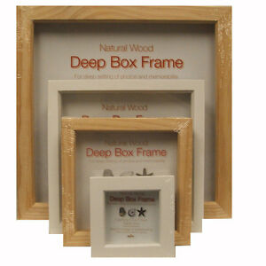Innova Natural Wood Deep Box Picture Frames 3x3 6x6 8x8 12x12