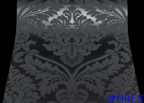 5526-31) 1 Rolle Vinyl Tapete BLACK BAROCK ORNAMENTschwarz - ANGEBOT- (0,89€/m)