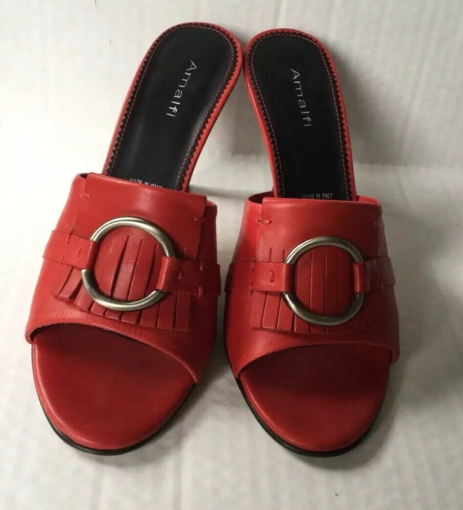 Amalfi Nordstrom Leather Mules Sandals Heels 8 B Red Made in Italy, EUD
