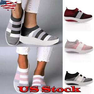 Women-039-s-Platform-Slip-On-Sneakers-Casual-Comfy-Shoes-Striped-Printed-Loafers-US