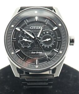 Citizen Eco Drive Man S Watch 8725 S111927 Black With Original Case Size 7in Ebay