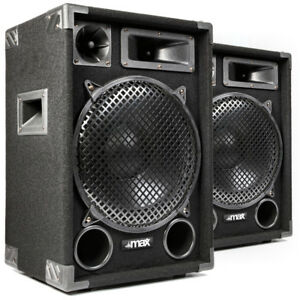 PA-Speakers-Passive-Hi-Fi-Loudspeakers-3-Way-12-Inch-Subwoofer-Pair-Disco-1400W