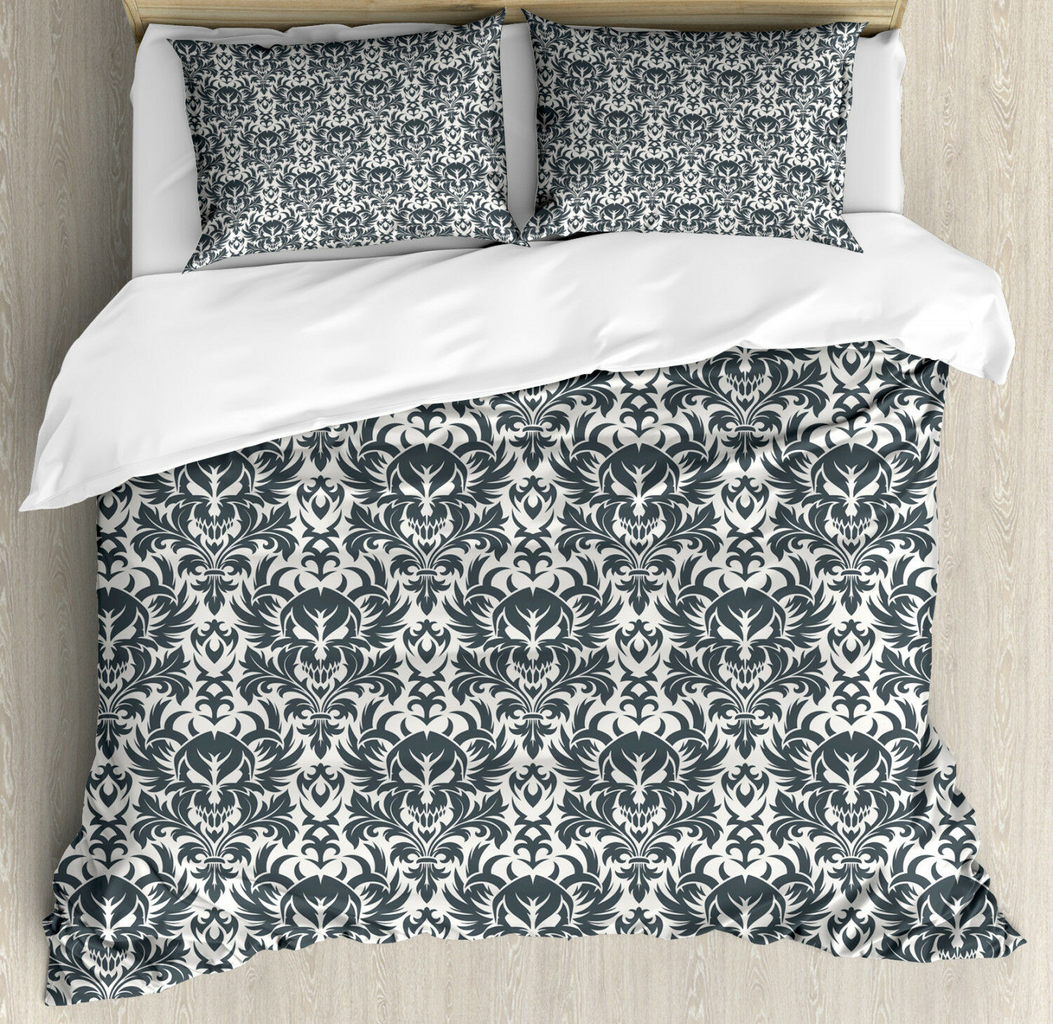 Gothic Duvet Cover Set with Pillow Shams Damask Inspirosso Flourish Print