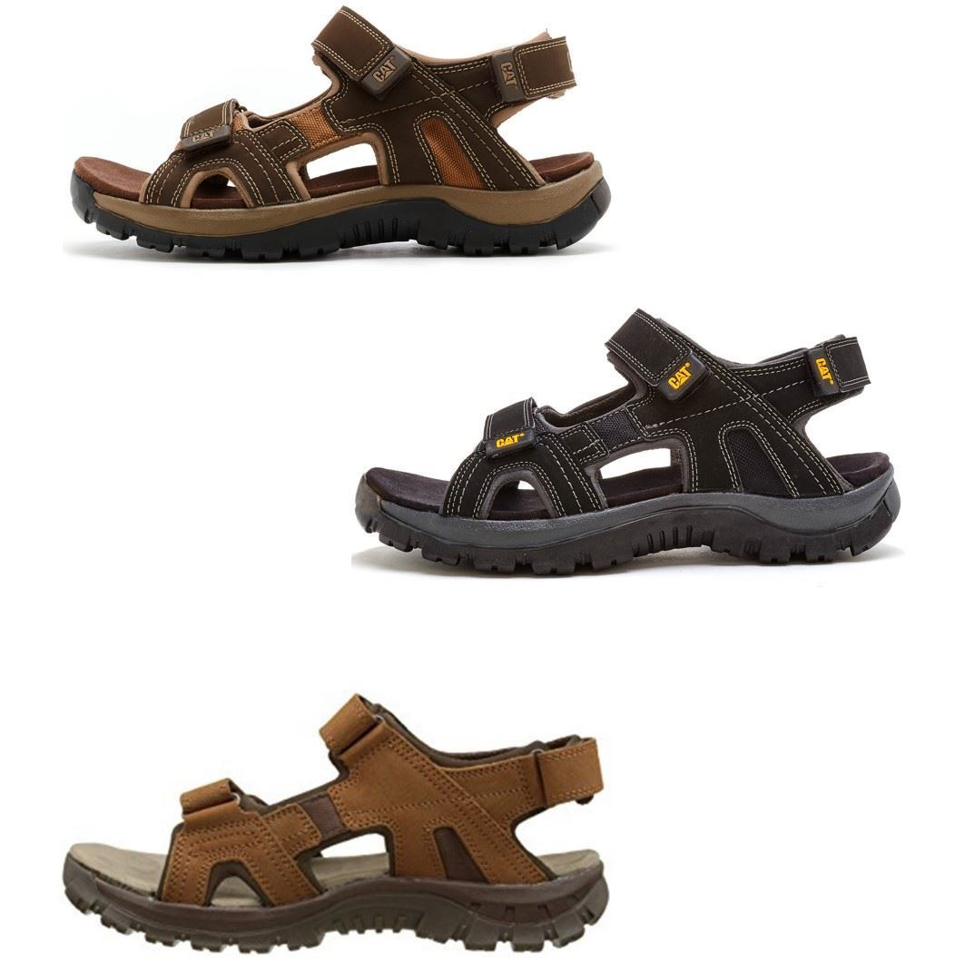Caterpillar Giles CAT Leather Sandals in Brown & Black