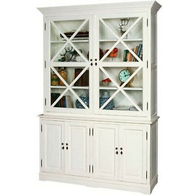 French Hampton X Display Glass Door Cabinet In Painted Oak Huge Stocktake