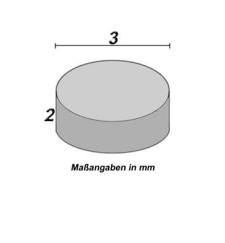 10 imanes neodimio 3 x 2 mm redondo nuevo