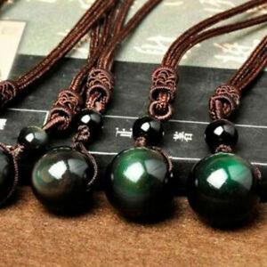 Piedra-Natural-Negro-Obsidiana-Arco-Iris-eye-Beads-Bola-Colgante-transferencia