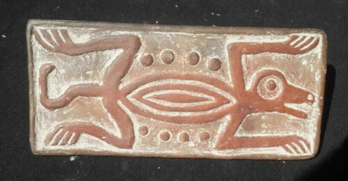 Vtg Pre Columbian Maya style Lizard Clay Tablet Stamp from Mexico Aztec Mexican