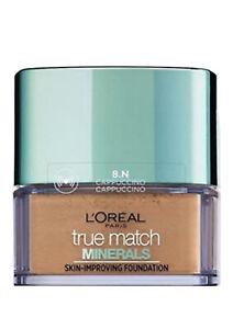 L'Oréal True Match minerali Paris Fondazione CAPPUCCINO 10g #8N NUOVO