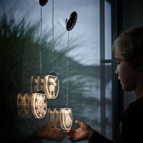 LED-Acrylglastaler Saugnapf Batteriebetrieb Krinner Lumix Deco Lights Kerzen