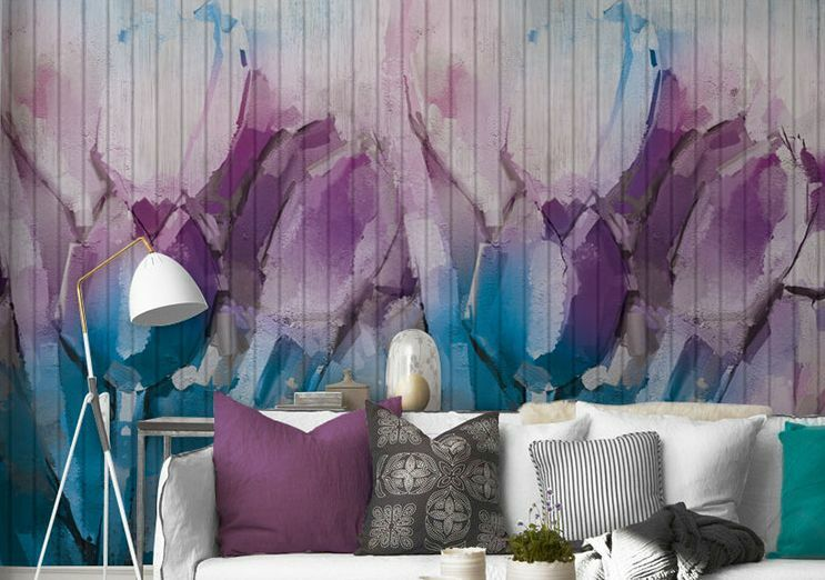 3D WaterCouleur Flowers Fade Paper Wall Print Decal Wall Deco Indoor wall Murals