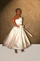 Size 18 Tea Length Ivory And Champagne Satin Bridal Gown, Wedding Dress
