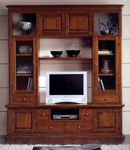 Parete mobile soggiorno libreria vetrina in legno massello madia porta tv 166 ebay - Mobile libreria a parete ...
