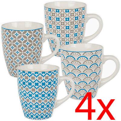 Set Of 6 English Quality Tea Mugs 342ml Fine Bone China Coffee Latte Drinks Cups