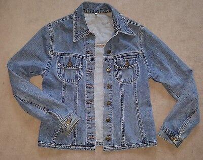 1980er Classic Blue Chewan True Vintage Donna Jeans Giacca Donna Taglia L (circa 38/40)-mostra Il Titolo Originale Fresco In Estate E Caldo In Inverno