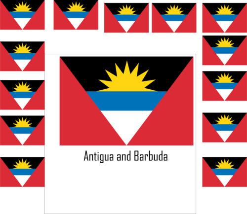 Assortiment lot de 25 autocollants Vinyle stickers drapeau Antigua-et-Barbuda