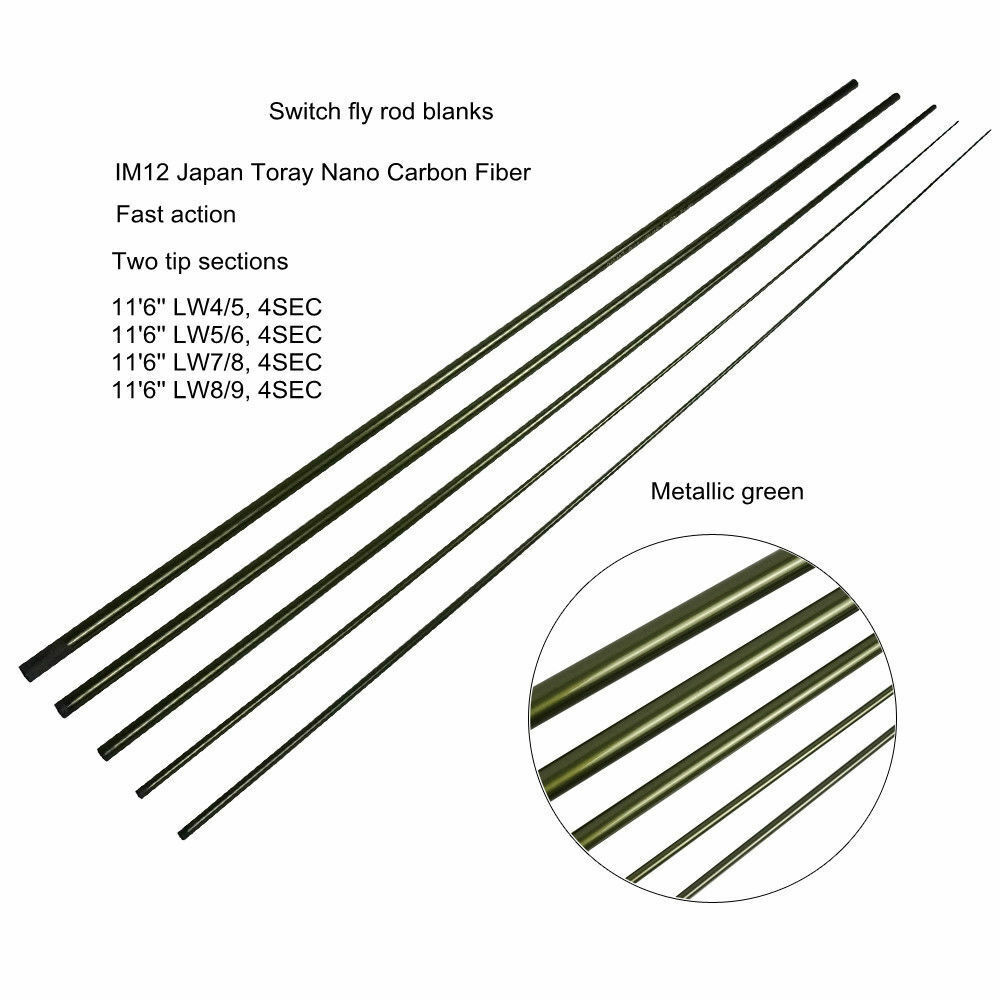 IM12 Nano Carbon Switch Fly Rod Blanks 11'6'' 4SEC Fast Action, Two Tips blanks