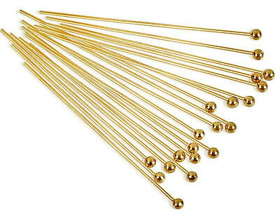 """(20) 22K Gold Plated Head Pin 1 1/2"""" Long 2mm Ball 22 Gauge Wire Beading Craft"""
