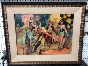 Original-Oil-Painting-Signed-Framed-On-Board-Party-Scene-Colorful-Vintage-24x18