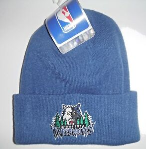 Image is loading MINNESOTA-TIMBERWOLVES-VINTAGE-NBA-BEANIE-KNIT-WINTER-HAT- 28c6305865b