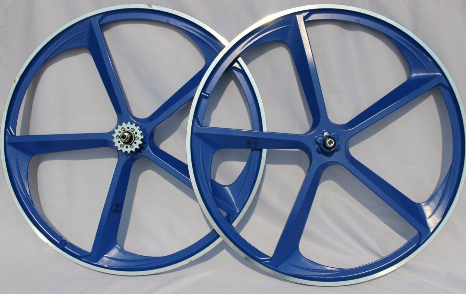 29  CNC BMX 5-Spoke Mag Rims, Wheels, Sealed hubs W  Freewheel, bluee