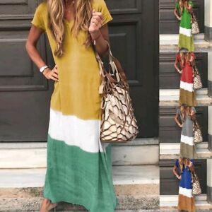 Plus-Size-Womens-Summer-Holiday-Maxi-Long-Dress-Ladies-Short-Sleeve-Kaftan-Dress
