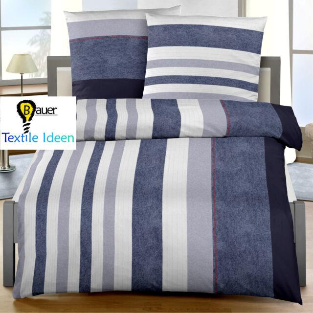 Bettwäsche 155x220 Cm Streifen Jeans Blau 17554 Biber Günstig Kaufen