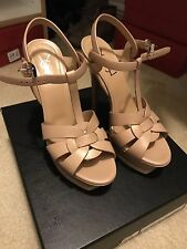 YSL Saint Laurent Tribute T-Strap Platform Nude Sandal 7 Shoes 37 New $895