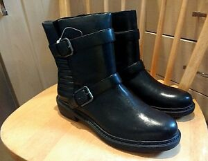 NEW-Clarks-Womens-Leather-boots-DANELLE-Padded-Lined-Winter-Black-Biker-boots