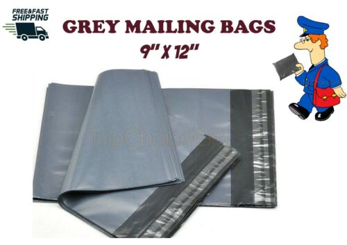 """100 GREY MAILING POLY POSTAL POST PARCEL PACKAGING BAG BAGS 9 x 12-9/"""" x 12/"""""""