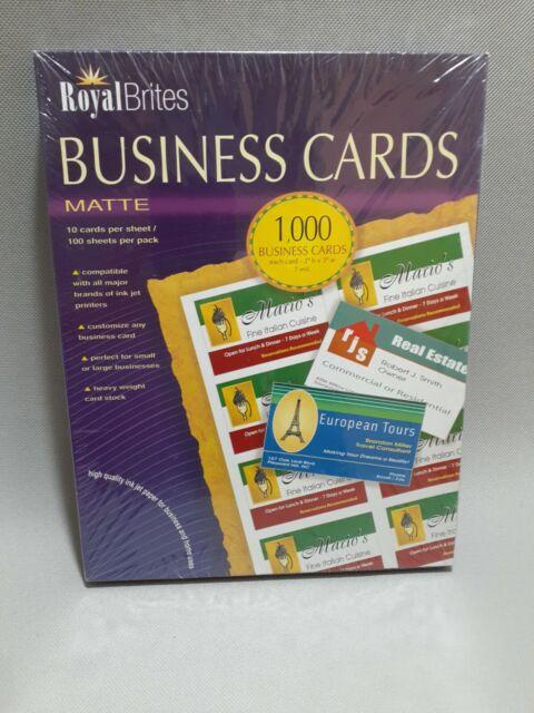 Royal Brites 1000 Matte White Business Cards 28992 Inkjet Laser 2 X 3 5 For Sale Online Ebay