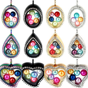 Four-Colors-Beads-Cage-Glass-Locket-Pearl-Cage-Floating-Pendant-Gift-Charms