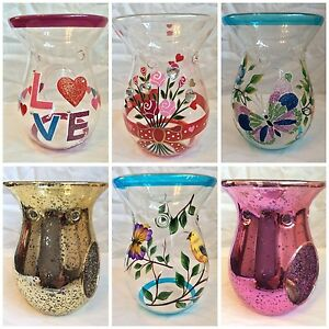 14cm-Glass-Wax-Melt-Oil-Burners-Various-designs-inc-metallic-and-hand-painted