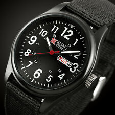 Military Royale Mens Watch Quartz Black Fabric Gloss Analog Date Display Army
