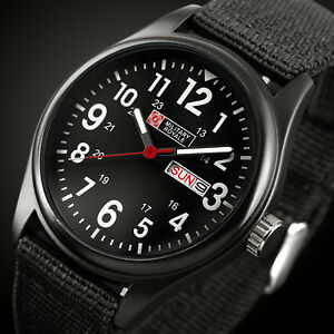 Military-Royale-Mens-Watch-Quartz-Black-Fabric-Gloss-Analog-Date-Display-Army