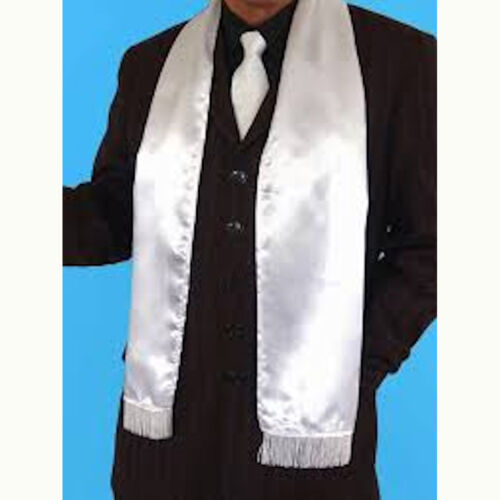 1920/'s Men/'s White Wide Gangster Scarf with Fringe Gatsby Fancy Dress Costume