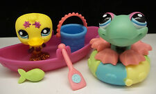 LITTLEST PET SHOP YELLOW GLITTER DUCK #2356 & FROG #2357 PAIR BOAT ACCESSORIES