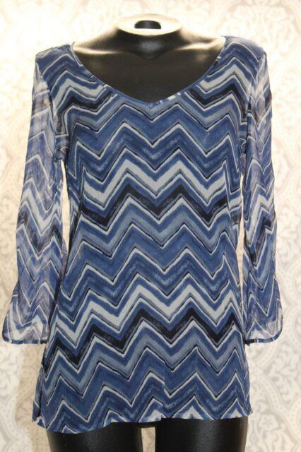 Lucky Brand Womens XS Shirt Blue Chevron 3/4 Bell Sleeve V Neck A Line Tunic