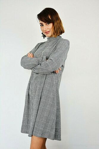 New Womens Prince of Wales Check Funnel Neck Stretchy Swing Dress Size S//M-M//L