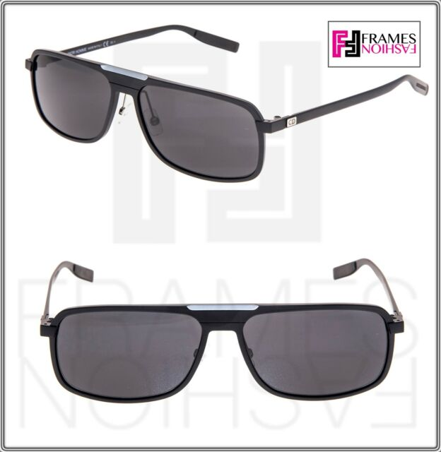 df192bbcf17 DIOR HOMME AL 13.7 Square Aluminum Matte Black Mirrored Metal Sunglasses  AL137