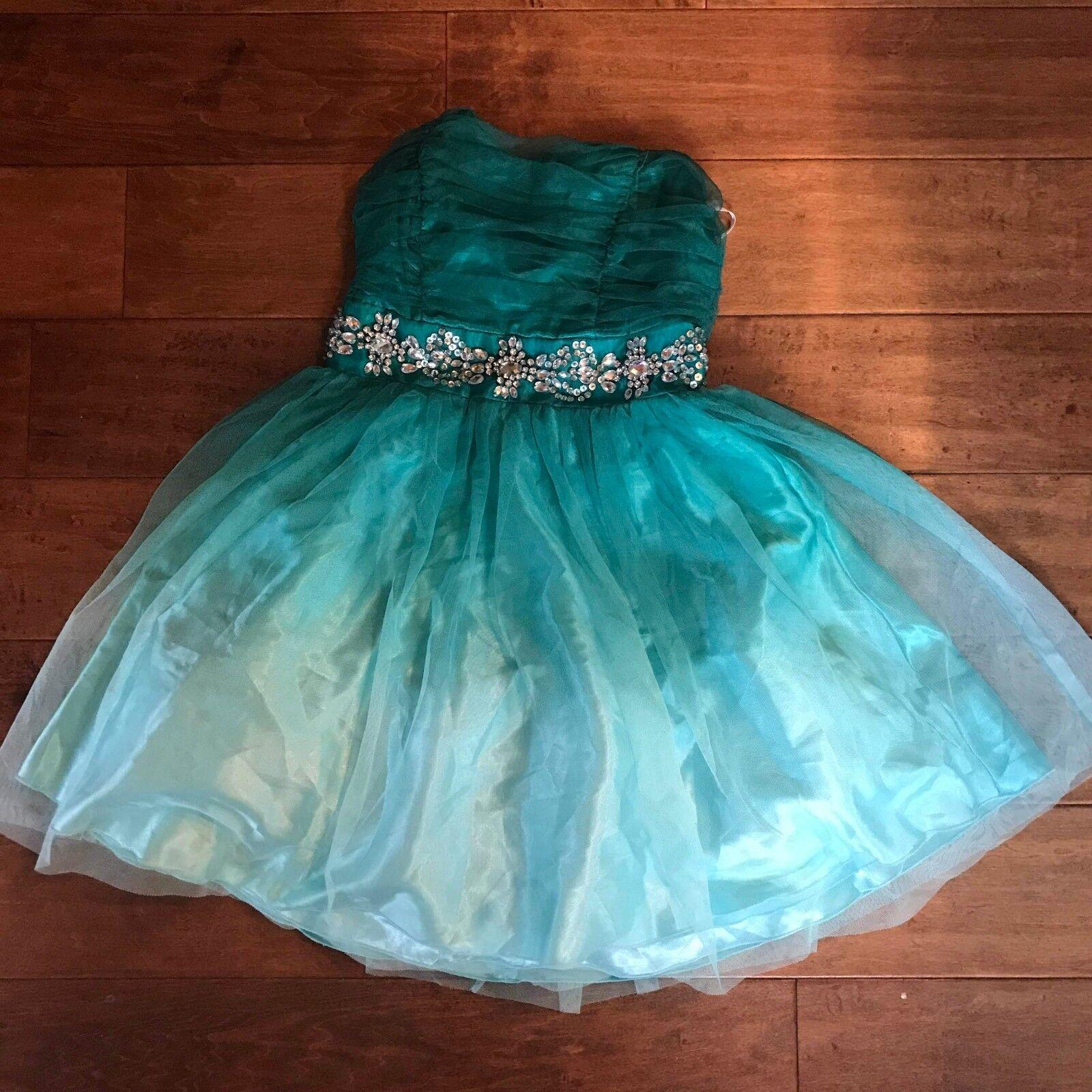 B Darlin Jr Dress Size 1 2 Jade Green Strapless Ombre A-Line Jeweled Formal
