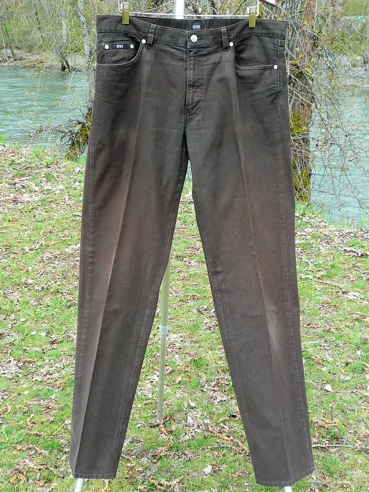 BOSS HUGO BOSS PANTS 40  X 36 1 4  BROWN COTTONISH HIGH RISE COMFORT CORDS-LOOK