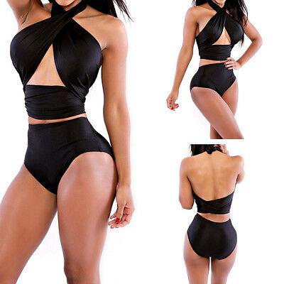 Sexy Women Bikini Retro High Waist Push Up Padded Bandeau Swimsuit Swimwear Set