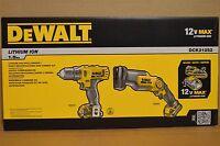 Brand Dewalt Dck212s2 12v Max Li-ion Drill Driver And Reciprocating Saw Kit