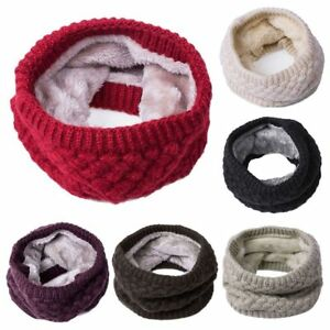 New-Women-Winter-Warm-Infinity-Cable-Knitted-Neck-Cowl-Collar-Velvet-Scarf-Shawl